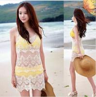 2014 New Summer Women Lace Crochet Hollow Swimwear Bikini Cover Up Beach Dress Vest Bathing suit#Y415 free shipping
