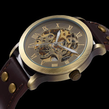 2014 New Fashion Vintage Antique Bronze Skeleton Mechanical Watch Men Leather Automatic Watch Shenhua Brand Wristwatch(China (Mainland))