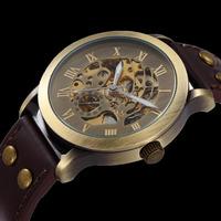2014 New Fashion Vintage Antique Bronze Skeleton Mechanical Watch Men Leather Automatic Watch Shenhua Brand Wristwatch