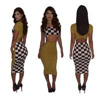 2014 new  fashion Plaid women 2 Piece  clothing  party  bodycon sleeveless dresses sexy evening bandage dress  KM108