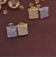 LSE845 men earrings screw back brass earring gold plating rhodium plating , free shipping