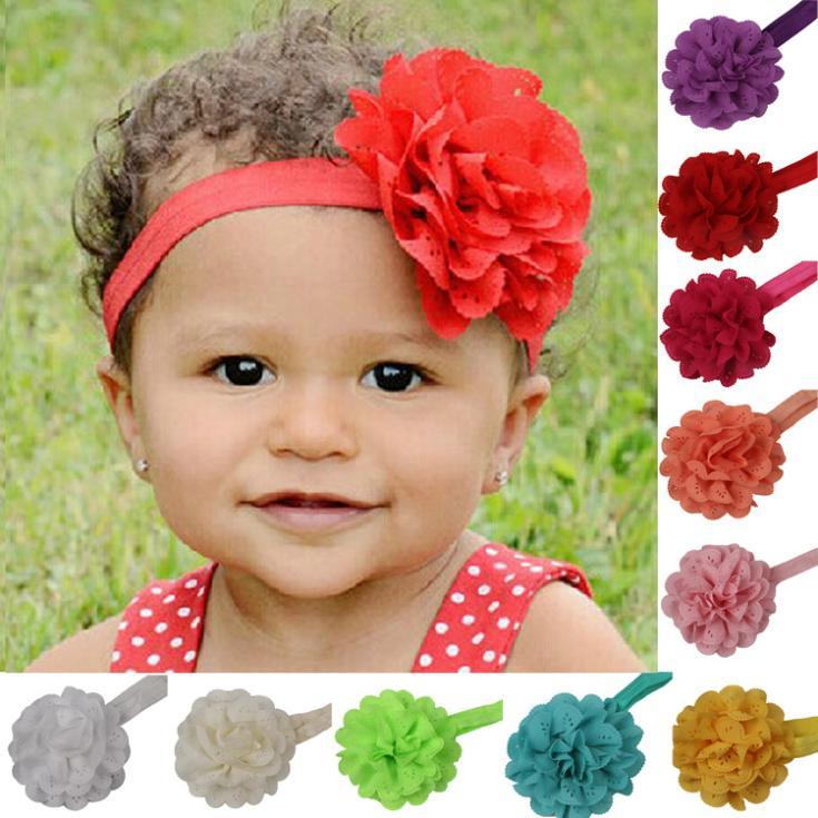 Toddler Baby Kids Girls Chiffon Children Flower Elastic Headband Hairband Decor 11 Colors Drop Shipping BB-094\br(China (Mainland))