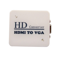 free shipping Qs452 Details About Hdmi to VGA Hd 1080p Video Converter TV Box Av Adapter Audio Output for Pc Ps3 Tv