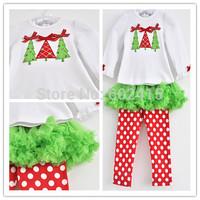 5set Children girl's 2014 Autumn Long sleeve t-shirt with Christmas trees +skirt dot pant  Christmas 2-piece/set tz505