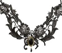 Wholesale Jewelry 12pcs/Lot Unique Punk Gothic Lolita Black Lace Necklace Z9T17 Free Shipping