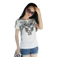 Womens Wave Pattern Retro Fashion Tees Leisure Loose Crew Neck Short Sleeve Chiffon T-Shirt Top 3 Colors Drop Shipping 69567\br
