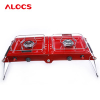 Outdoor Folding Cooking ALOCS Portable Phantom Series Double Gas Camping Stove Stainless Steel Burner Grills Gold Color CS-G06