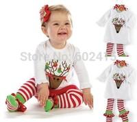 5set Children girl's 2014 Autumn Long sleeve t-shirt with deer +stripe pant  Christmas pajama  2-piece/set TZ311