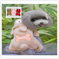 10pieces/Lot Lovely  Bone Bear  Fleece Jumpsuit For Dogs Halloween Costume Pet Winter Warm Clothes Christmas Apparel PC14023