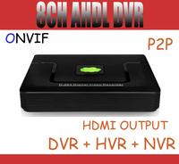 8CH Hybird AHD DVR CCTV DVR Full D1 960H 720P 8CH DVR NVR HVR 3 in 1support Onvif HDMI P2P For AHD, IP & Analog Camera