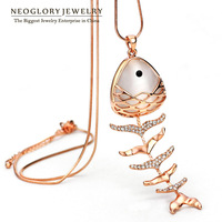 Neoglory Rhinestone Opal Fish Design Chain Long Necklaces Pendant For Women Rose Gold Plated Jewelry Accessories 2014 New LN1