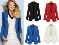 women jacket fashion blazer slim suit outerwear candy color one button coat 5 colors full size s m l xl women jacket