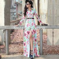 New 2014 autumn winter women vintage fashion patterns print long sleeve dress maxi floor length sexy plus size brand dresses xxl