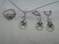 bridal jewelry sets , 925 Sterling silver jewelry sets    Platinum plated necklace & pendant earrings ring wedding  jewelry