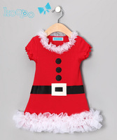 New Fashion Summer Baby Girl Newborn Toddler Child Kids Short Sleeve Party Red Lace Sashes Button Christmas Dresses H0140848