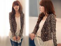 Drop Shipping Casual Chic OL Short Coat Lady Bouble-Breasted Leopard Poncho Outerwear Blazer Cardigan blazer 2014 feminino