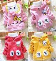 New Lovely Hello Kitty Autumn Winter Warm Baby Jacket Girls Coat (3Pcs/lot) Children's Cotton Outerwear[iso-14-9-3-A2]