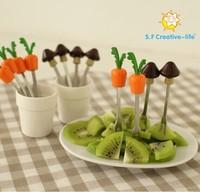 6pcs stainless steel fruit fork suit Korean fashion creative cute little cartoon fruit fork six children loading