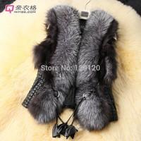 New 2014 Autumn Spring and Winter High Imitation Faux Fox Fur Vest Gilet Outerwear Women's Coat Plus Size