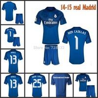Thailand quality kits 14 15 Real Madrid soccer jerseys NAVAS IKER CASILLAS goalkeeper Blue football shirt+short uniform set+logo