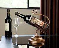 Luxury European style antique brass wine holder Retro European Creative wine rack, home decoration Iron Wine bottle frame