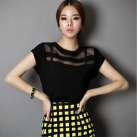 2014 Summer Ladies Black Tulle Tops Chiffon Shirts Blouses Women Sheer Cheap Clothes China Atacado De Roupas Femininas Camisas