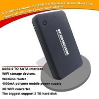 New 2.5''USB 3.0  Wireless Wifi HDD External 2TB Hard Disk case,Support 3G wifi router power bank for Android / Windows / MAC OS
