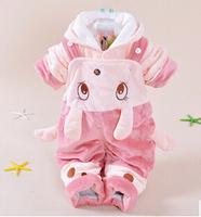 new 2014 baby girl baby boy cartoon rabbit winter warm coat+suspender clothing sets 2pcs kids apparel kids clothes sets