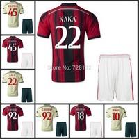 3A+++ Thailand kits 14 15  Italy AC Milan soccer jerseys+shorts KAKA BALOTELLI home football shirt away soccer uniforms set+logo