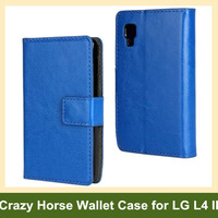 Newest Crazy Horse Pattern PU Leather Folding Walelt Flip Cover Case for LG Optimus L4 II E440 E445 Free Shipping