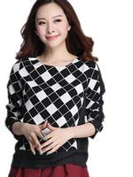 Free Shipping Women Fashion Long sleeve Plaid  Tops, Plus Size Korea Girls t-shirt women XL XXL XXXL XXXL  2 Colors
