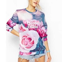 New Fashion Ladies' elegant floral Pattern sports pullover outwear Casual slim O-neck long Sleeve casual Top--H917
