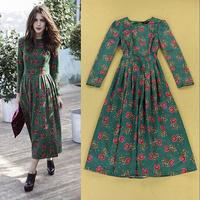 Hot Selling High Street Fashion Women's Chic Flower Print Pleated Dress Long Sleeve Vintage Midi Dresses Free Shipping  F16345