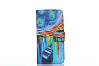 New High Quality  fashion oil painting Luxury Flip leather wallet  card holder Case For iphone 5 5s Stand Cover Free ship