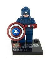 Super Toy Captain 45mm Building Super Heroes Blue Minifigures Blocks Toys 3 Cards Retail Box