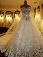 Evening Dress 2014 High quality Luxury Crystal Beaded Lace Embroidery Shining Princess Trailing Plus Size Bandage Wedding Dress