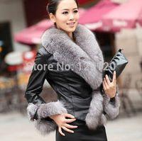 Hot-selling 2014 faux overcoat New Fashion Big FurCollar Jacket Women Slim Outerwear Pu Leather Jacket Coat Winter Warm Fur Coat