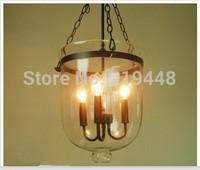 American Pastoral Simplicity Retro Lighting Restaurant Living Room Chandelier Rustic Iron Art Transparent Glass Chandelier