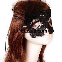 Women Sexy Black Lace Mesh Adjustable Half Eye Mask Masquerade Carnival Party