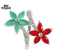 Green with Red Rhinestone Flowers AAA Zircon Ring Flowers Ring ZC240RG