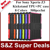 500pcs Free shipping Rugged Hard TPU+PC Robot Phone cases Back Cover Stand Holder kickstand case For Sony Xperia Z3