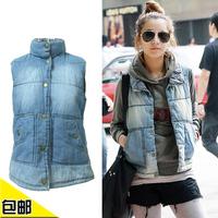 new 2014 female autumn winter vest Denim clip cotton vests thickening cardigan stand collar denim cotton waistcoat