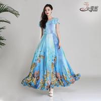 2014 summer one-piece dress women's short-sleeve ruffle collar chiffon bohemia fancy sweet full dress