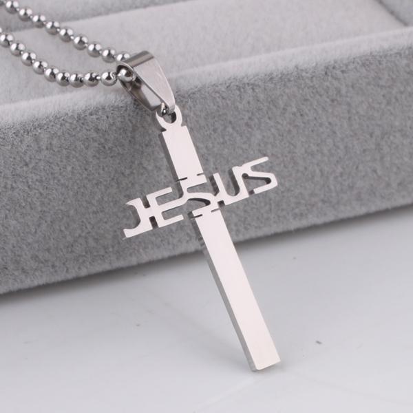 Jesus cross titanium lovers steel pendant necklace 60cm beads