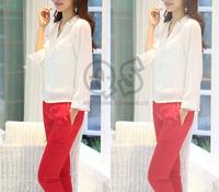 2014 noble fashion v neck women chiffon blouse & shirts lady elegant tops workwear woman casual blusas Q095