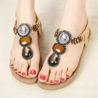 2014 New Summer shoes Women Sandals Flat shoes Gemstone