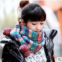 2014 winter fashion faux wool scarf bohemia jacquard yarn knitted cashmere scarf for women