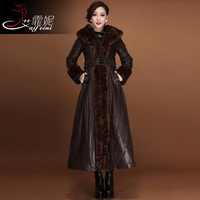 2014 winter slim leather wadded jacket outerwear fur collar leather overcoat long design plus size leather thickening