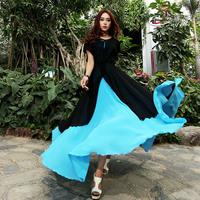 2014 slim batwing sleeve chiffon elegant one-piece dress patchwork color block expansion bottom dress