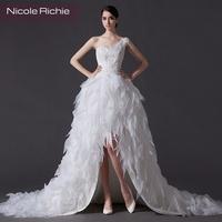 The bride wedding dress formal dress low-high 2014 one shoulder handmade flower feather long trailing high quality female